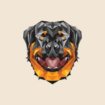 Vector lowpoly rotweiller dog