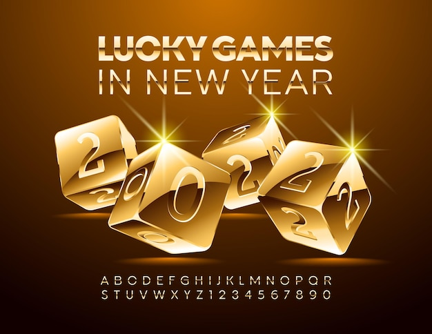 Vector luxury casino greeting card lucky games in new year 2022 elegant font chic golden alphabet