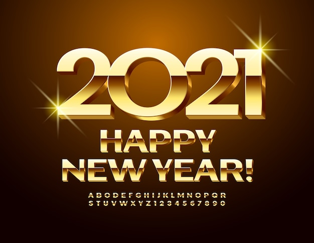 벡터 럭셔리 인사말 카드 새해 복 많이 받으세요 2021! 황금 3d 글꼴. 광택있는 대문자 알파벳 문자 및 숫자