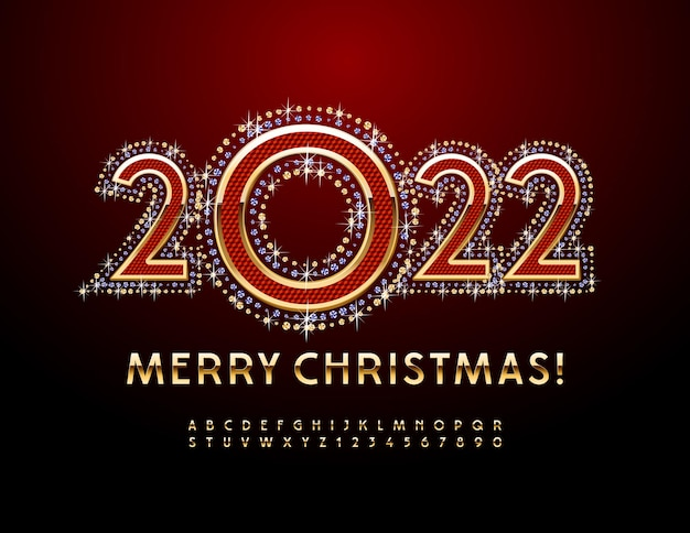 Vector luxury greeting card merry christmas 2022 gold stylish font alphabet letters and numbers