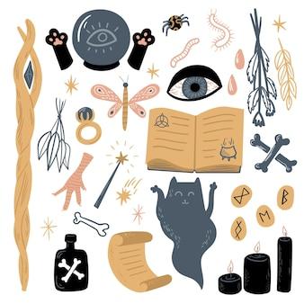 Векторная волшебная коллекция с символами колдовства и оккультизма и т. д.