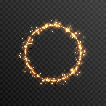 Vector magic glow sparkling light sparkling dust png glowing frame golden circle png