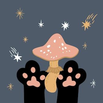 Векторная волшебная иллюстрация черная кошка, держащая грибы или мухомор симпатичные кошачьи лапы