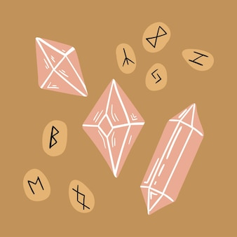ベクトル魔法のイラストスカンジナビアのルーン文字の結晶または宝石