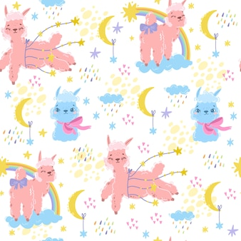 Вектор волшебный узор с альпакой. сладкая лама. розовая овца или единорог. используйте для детской темы. текстиль, комната, обои, печать одежды. спокойной ночи, детская ночь, печать