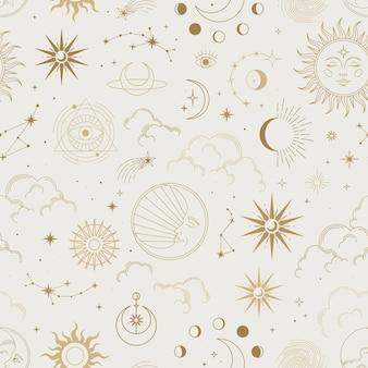 Вектор волшебный бесшовный образец с созвездиями, солнцем, луной, волшебными глазами, облаками и звездами.