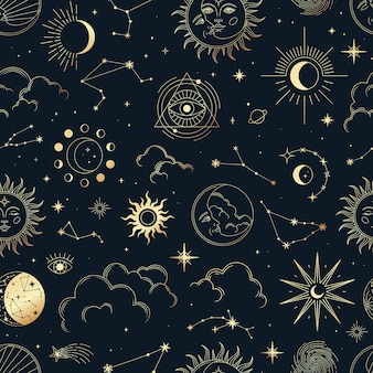 Vector magic seamless pattern with constellations, sun, moon, magic eyes, clouds and stars.