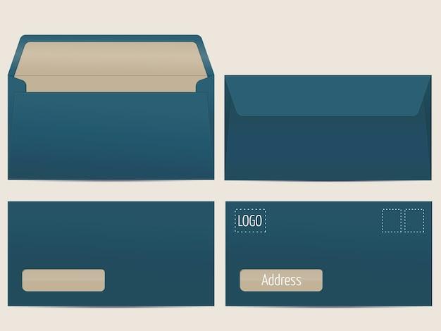 ベクターメール封筒。あなたのデザインのための空白の封筒。ベクトルエンベロープテンプレート。