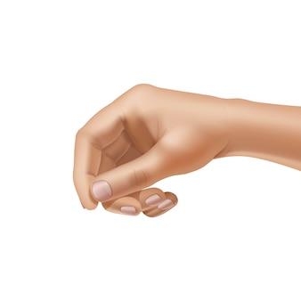 Вектор мужской рукой на белом фоне