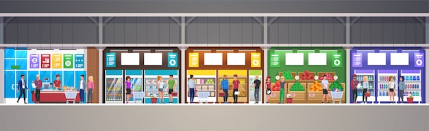 Vector mall interior supermarket store with goods illustration