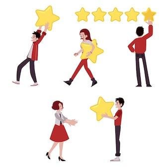 Вектор человек большая звезда концепция обзора клиентов