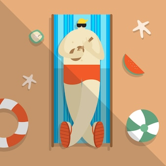 Vector of a man chilling on the beach