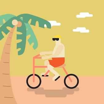 Vector of a man cycling on the beach