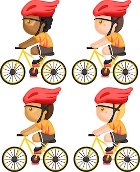 A vector of a man cycling with multiple skin tones options