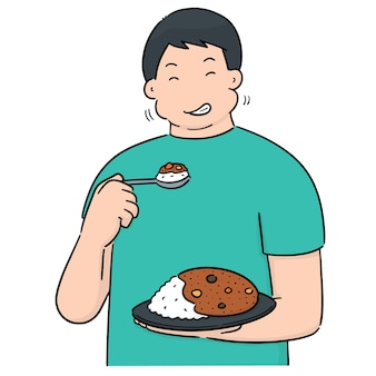 Vector of man eating