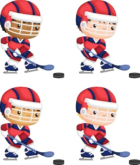A vector of a man playing hockey with multiple skin tones options