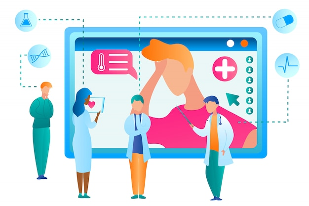 Vector man seeking medical assistance from doctor. flat illustration group doctor using tablet online advises patient on treatment. determination diagnosis disease. modern healthcare medicine