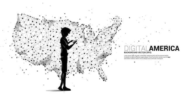 Vector man은 polygon 점 연결 라인에서 미국 지도와 함께 휴대 전화를 사용합니다. 미국 디지털 네트워크 연결에 대한 개념입니다.