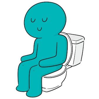 Vector of man using flush toilet