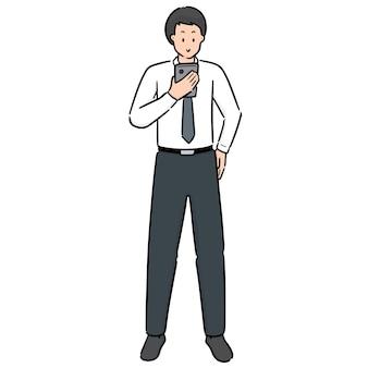 Vector of man using smartphone