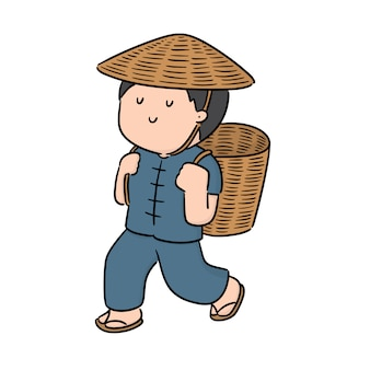 Vector of man and wicker basket