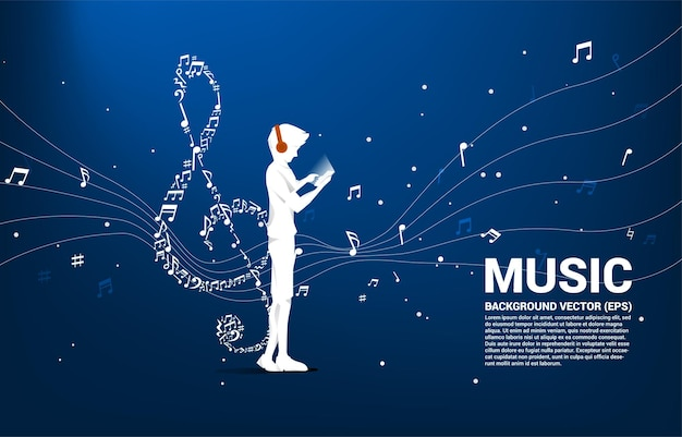 Vector man with mobile phone and headphone and music melody shape sol key note dancing flow . concept background for online streaming music.