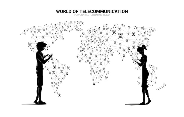 Vector man and woman use mobile phone and polygon dot connect line with antenna tower icon around world map map. concept for global telecommunication technology.