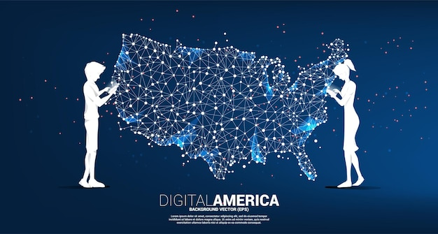 Vector man and woman use mobile phone with united states map from polygon dot connect line. concept for america digital network connection.