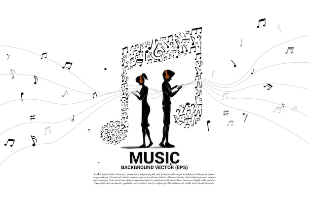 Vector man and woman wear mobile phone and headphone with music note dancing flow . concept background for online streaming music.