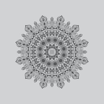 装飾的な要素を持つ花の丸いパターンのベクトル曼荼羅