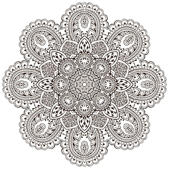 Vector mandala pattern of henna floral elements based on traditional asian ornaments