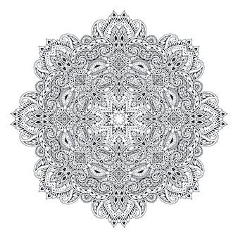 전통적인 아시아 장식품을 기반으로 한 헤나 꽃 요소의 벡터 만다라 패턴입니다. 손으로 그린 요소와 페이즐리 멘디 문신 낙서 그림