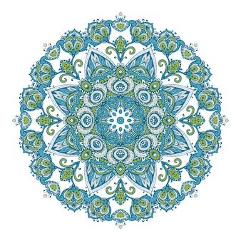 전통적인 아시아 장식품을 기반으로 한 헤나 꽃 요소의 벡터 만다라 패턴입니다. 페이즐리 멘디 문신 낙서 그림