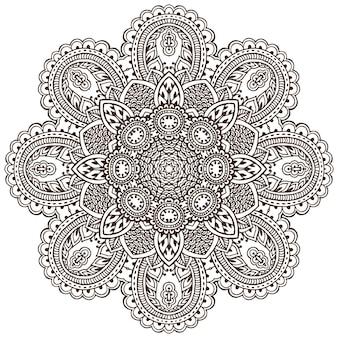 전통적인 아시아 장식품을 기반으로 헤너 꽃 요소의 벡터 만다라 패턴