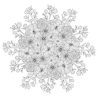 Векторные мандалы с цветами. взрослая книга раскраски. цветочный дизайн для украшения.