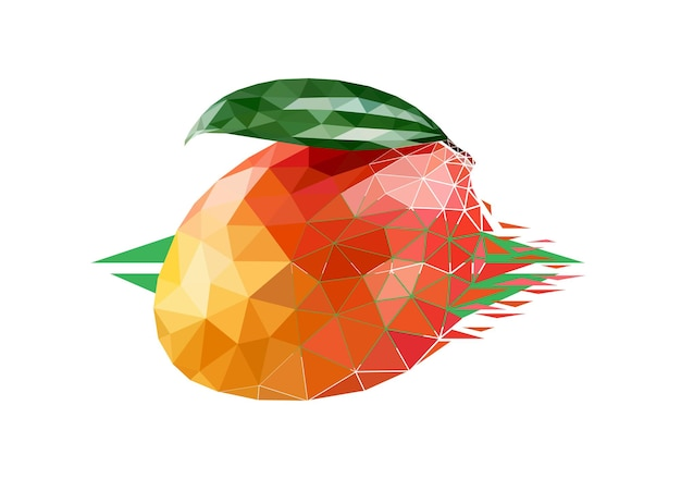 Vector mango in low poly style. digital art