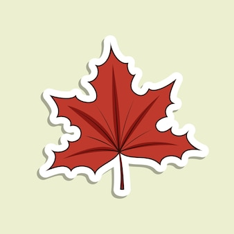 Vector maple leaf sticker on the light green background. cartoon isolated autumn symbol with white contour and shadow.