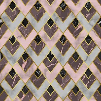 Вектор мрамор бесшовные модели с золотыми геометрическими диагональными линиями