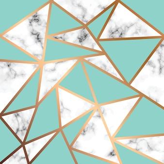 黄金の幾何学的な線、黒と白の大理石の表面とベクトル大理石のテクスチャのデザイン