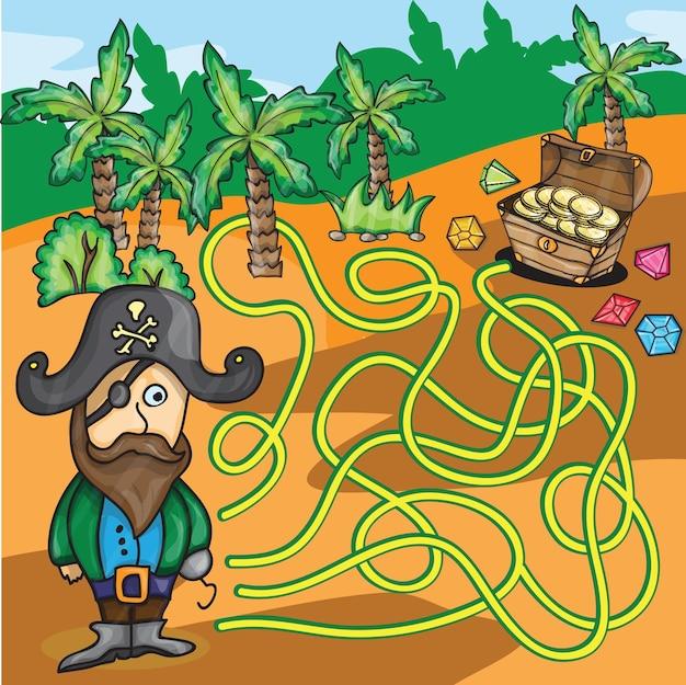 벡터 미로 게임 - 재미있는 해적은 사막에서 보물 상자를 찾으려고 합니다.