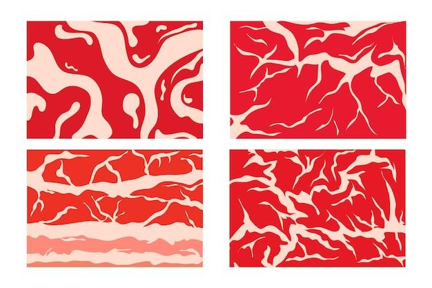 Векторный фон мяса или коллекция образца. говядина, свинина, баранина.