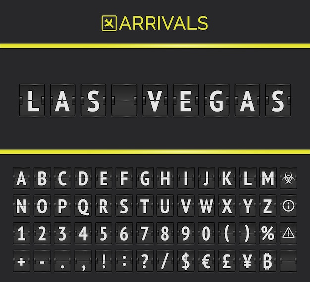 Vector mechanical airport scoreboard for flights and trains to land of casino las vegas. flight arrivals flip board with airplane sign