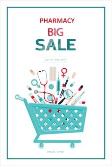 Векторный шаблон баннера медицинской продажи для больниц, рекламирующих аптеки, обучение первой медицинской помощи ...