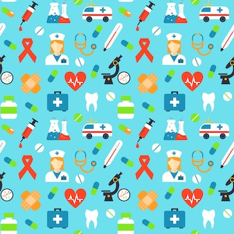 Vector medical seamless pattern. medicine microscope, red ribbon, plaster and antibiotic, blood and pulse, vitamin and syringe, capsule and thermometer