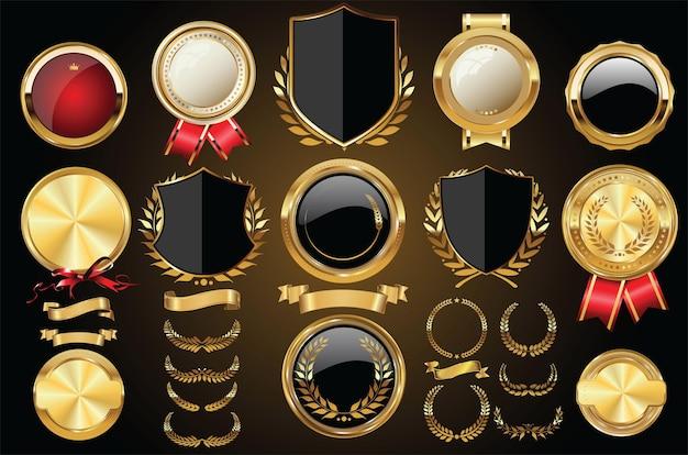 ベクトル中世の黄金の盾月桂樹の花輪とバッジのコレクション
