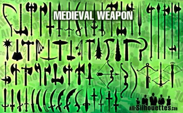 Vector medieval weapon silhouettes