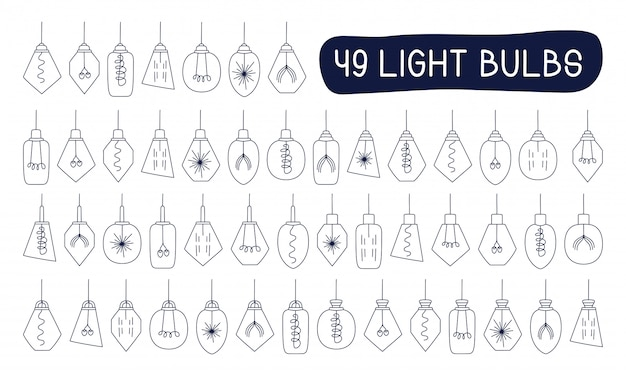 Vector mega collection set hand drawn doodles illustration sketch loft lamps