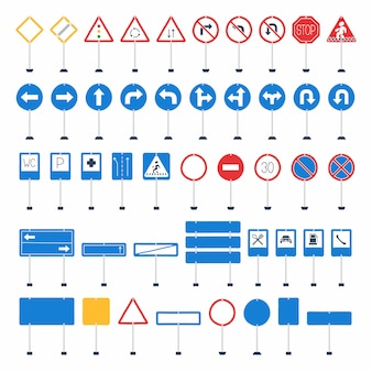 Vector mega set of cartoon road signs