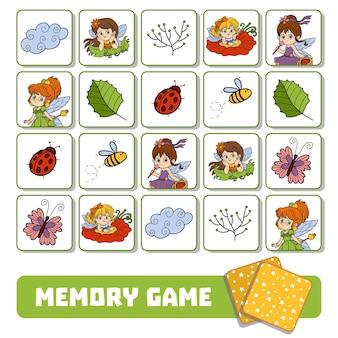 Vector memory game for children, cards with fairies and natural objects