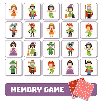 Vector memory game for children, cards with fairy-tale characters